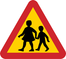 Traffic sign of Sweden: Warning for children