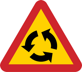 Traffic sign of Sweden: Warning for a roundabout
