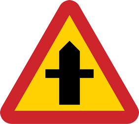 Traffic sign of Sweden: Warning for a crossroad side roads on the left and right