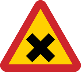 Traffic sign of Sweden: Warning for an uncontrolled crossroad