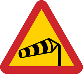 Traffic sign of Sweden: Warning for heavy crosswind