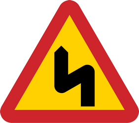 Traffic sign of Sweden: Warning for a double curve, first left then right