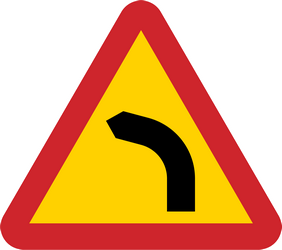 Traffic sign of Sweden: Warning for a curve to the left