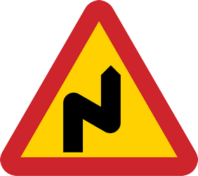 Traffic sign of Sweden: Warning for a double curve, first right then left