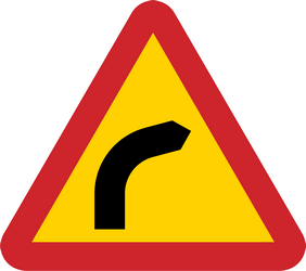 Traffic sign of Sweden: Warning for a curve to the right