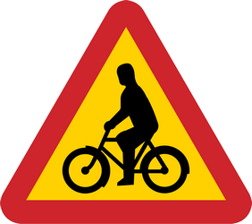 Traffic sign of Sweden: Warning for cyclists