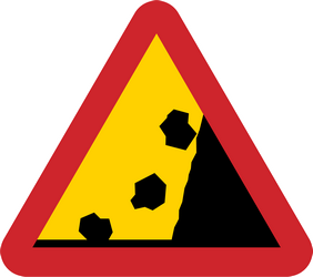 Traffic sign of Sweden: Warning for falling rocks