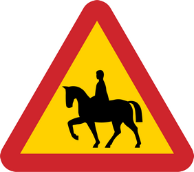 Traffic sign of Sweden: Warning for equestrians