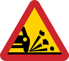 Traffic sign of Sweden: Warning for loose chippings on the road surface
