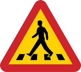 Traffic sign of Sweden: Warning for a crossing for pedestrians