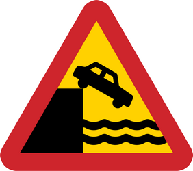 Traffic sign of Sweden: Warning for a quayside or riverbank