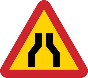 Traffic sign of Sweden: Warning for a road narrowing