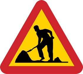 Traffic sign of Sweden: Warning for roadworks
