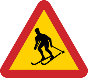 Traffic sign of Sweden: Warning for skiers