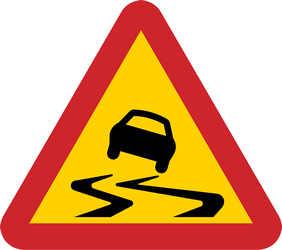 Traffic sign of Sweden: Warning for a slippery road surface