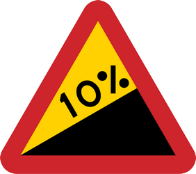 Traffic sign of Sweden: Warning for a steep ascent