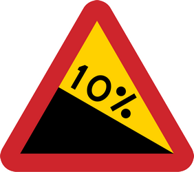 Traffic sign of Sweden: Warning for a steep descent