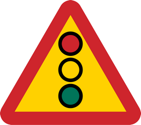 Traffic sign of Sweden: Warning for a traffic light