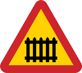 Traffic sign of Sweden: Warning for a railroad crossing with barriers