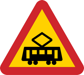 Traffic sign of Sweden: Warning for trams