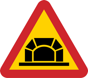 Traffic sign of Sweden: Warning for a tunnel
