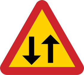 Traffic sign of Sweden: Warning for a road with two-way traffic