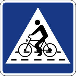 Traffic sign of Slovenia: Crossing for cyclists