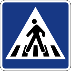 Traffic sign of Slovenia: Crossing for pedestrians
