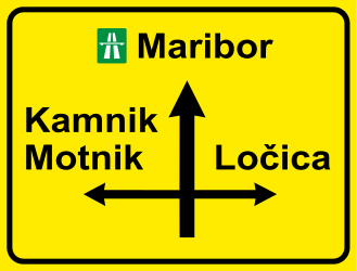 Traffic sign of Slovenia: Information about the directions of the crossroad