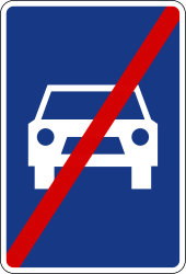 Traffic sign of Slovenia: End of the expressway