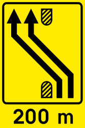 Traffic sign of Slovenia: Temporary change in the direction of the lanes