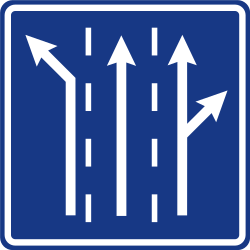 Traffic sign of Slovenia: Overview of the lanes and their direction