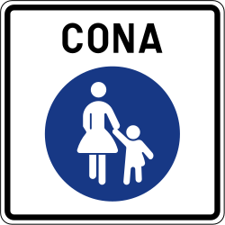 Traffic sign of Slovenia: Begin of a zone for pedestrians