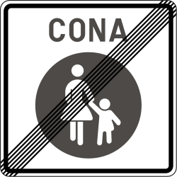 Traffic sign of Slovenia: End of the zone for pedestrians