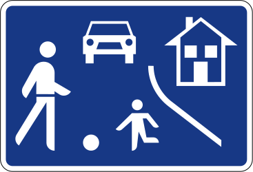 Traffic sign of Slovenia: Begin of a residential area