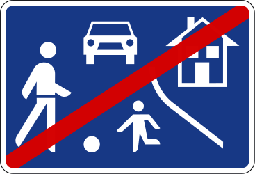 Traffic sign of Slovenia: End of the residential area
