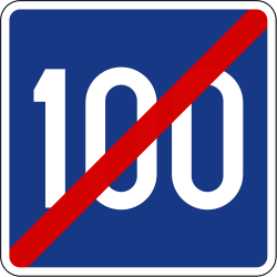 Traffic sign of Slovenia: End of the recommended speed
