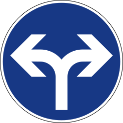 Traffic sign of Slovenia: Turning left or right mandatory