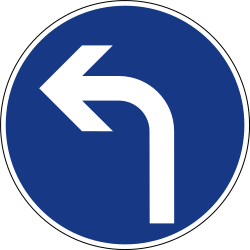 Traffic sign of Slovenia: Turning left mandatory