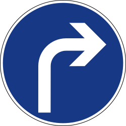 Traffic sign of Slovenia: Turning right mandatory