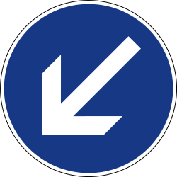 Traffic sign of Slovenia: Passing left mandatory