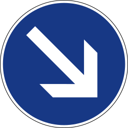 Traffic sign of Slovenia: Passing right mandatory