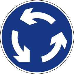 Traffic sign of Slovenia: Mandatory direction of the roundabout