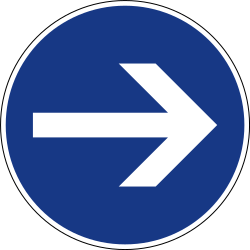 Traffic sign of Slovenia: Mandatory right
