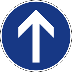 Traffic sign of Slovenia: Driving straight ahead mandatory
