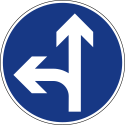 Traffic sign of Slovenia: Driving straight ahead or turning left mandatory