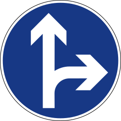 Traffic sign of Slovenia: Driving straight ahead or turning right mandatory