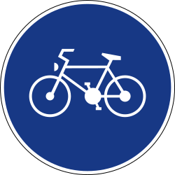 Traffic sign of Slovenia: Mandatory path for cyclists