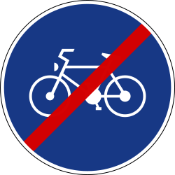 Traffic sign of Slovenia: End of the path for cyclists