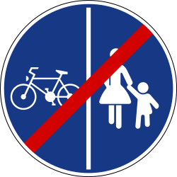 Traffic sign of Slovenia: End of the divided path for pedestrians and cyclists